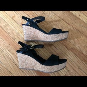 """UGG """"D'Alessio"""" Black Suede Wedges, size 6"""